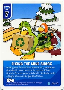 Topps Club Penguin Card-Jitsu Game Water Series 4 Single Card #59 Fixing The Mine Shack