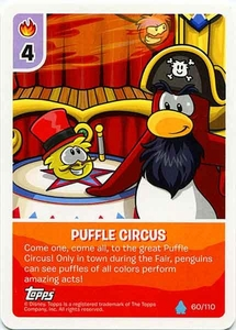 Topps Club Penguin Card-Jitsu Game Water Series 4 Single Card #60 Puffle Circus