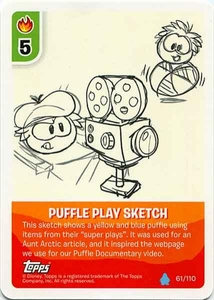 Topps Club Penguin Card-Jitsu Game Water Series 4 Single Card #61 Puffle Play Sketch