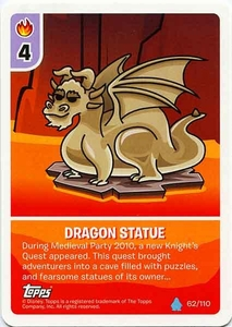 Topps Club Penguin Card-Jitsu Game Water Series 4 Single Card #62 Dragon Statue