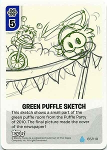Topps Club Penguin Card-Jitsu Game Water Series 4 Single Card #65 Green Puffle Sketch