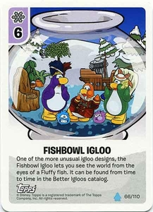 Topps Club Penguin Card-Jitsu Game Water Series 4 Single Card #66 Fishbowl Igloo