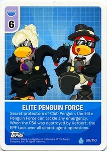 Topps Club Penguin Card-Jitsu Game Water Series 4 Single Card #68 Elite Penguin Force