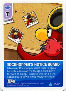 Topps Club Penguin Card-Jitsu Game Water Series 4 Single Card #69 Rockhopper's Notice Board