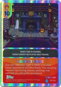 Topps Club Penguin Card-Jitsu Game Water Series 4 Single Foil Power Card #73 Haunted House