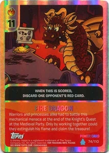 Topps Club Penguin Card-Jitsu Game Water Series 4 Single Foil Power Card #74 Fire Dragon