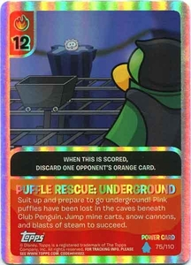 Topps Club Penguin Card-Jitsu Game Water Series 4 Single Foil Power Card #75 Puffle Rescue:Underground BLOWOUT SALE!