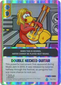 Topps Club Penguin Card-Jitsu Game Water Series 4 Single Foil Power Card #76 Double Necked Guitar BLOWOUT SALE!