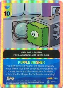 Topps Club Penguin Card-Jitsu Game Water Series 4 Single Foil Power Card #81 Puffle Washer Rare!