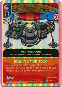 Topps Club Penguin Card-Jitsu Game Water Series 4 Single Foil Power Card #84 Island Lifter 3000
