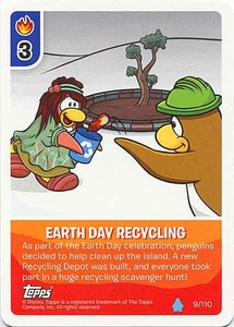Topps Club Penguin Card-Jitsu Game Water Series 4 Single Card #9 Earth Day Recycling