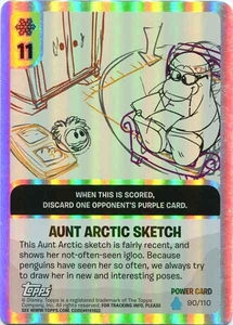 Topps Club Penguin Card-Jitsu Game Water Series 4 Single Foil Power Card #90 Aunt Arctic Sketch