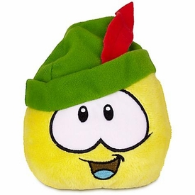 Disney Club Penguin 4 Inch Series 12 Plush Puffle Yellow with Robinhood Sherwood Hat [Includes Coin with Code!]