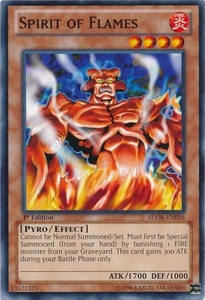 YuGiOh Structure Deck: Onslaught of the Fire Kings Single Card Common SDOK-EN016 Spirit of Flames