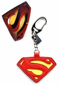Superman Returns Movie Leather Logo Keyring Keychain
