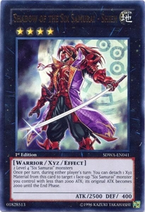 YuGiOh Zexal Samurai Warlords Structure Deck Single Card Ultra Rare SDWA-EN041 Shadow of the Six Samurai - Shien