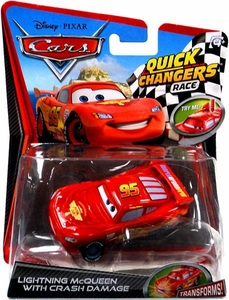 Disney / Pixar CARS 2 Movie 1:55 Quick Changers Race Lightning McQueen with Crash Damage