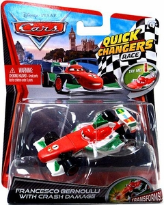 Disney / Pixar CARS 2 Movie 1:55 Quick Changers Race Francesco Bernoulli with Crash Damage