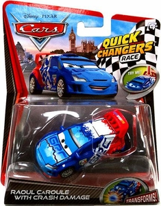 Disney / Pixar CARS 2 Movie 1:55 Quick Changers Race Raoul Caroule with Crash Damage
