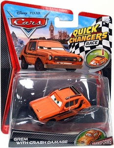 Disney / Pixar CARS 2 Movie 1:55 Quick Changers Race Grem with Crash Damage