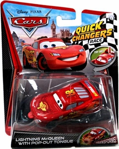 Disney / Pixar CARS 2 Movie 1:55 Quick Changers Race Lightning McQueen with Pop-Out Tongue