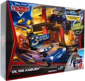 Disney / Pixar CARS 2 Movie Quick Changers Spy Playset Oil Rig Ambush