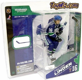 McFarlane Toys NHL Sports Picks Canada Exclusive Series 8 Action Figure Trevor Linden (Vancouver Canucks) Retro Blue Jersey Variant Slightly Yellowed Package!