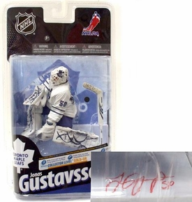 McFarlane Toys NHL Sports Picks Series 24 Action Figure Jonas Gustavsson (Toronto Maple Leafs) White Jersey with Signature Gold Collector Level Chase Only 200 Made!