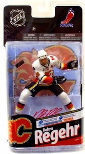 McFarlane Toys NHL Sports Picks Series 24 Action Figure Robyn Regehr (Calgary Flames) White Jersey with Signature Premier Chase Only 200 Made!