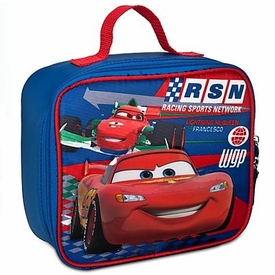 Disney Pixar Cars 2 Lunch Tote Bag Lightning McQueen Vs Francesco Bernoulli [Mater & Finn On Back]