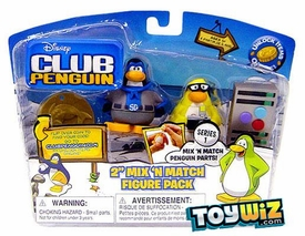 Disney Club Penguin Series 1 Mix 'N Match Mini Figure Pack Shadow Guy & Mild Mannered Reporter [Includes Coin with Code!]