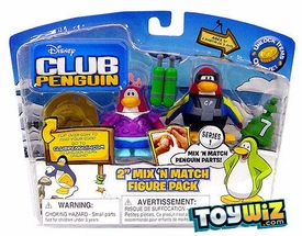 Disney Club Penguin Series 1 Mix 'N Match Mini Figure Pack Scuba Diver & Mermaid [Includes Coin with Code!]