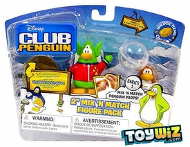Disney Club Penguin Series 1 Mix 'N Match Mini Figure Pack Space Alien & Spaceman [Includes Coin with Code!]