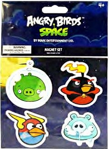 Angry Birds SPACE Flat Magnet 4-Pack #1 Green Pig, Firebomb Bird, Lightning Bird & Frozen Grandpa Pig