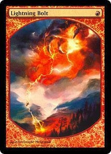 Magic the Gathering Textless Player Rewards Promo Card Lightning Bolt [Foil Textless Player Rewards] Awesome Picture!