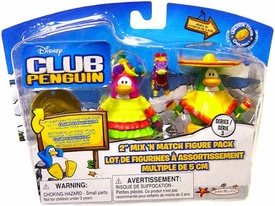 Disney Club Penguin Series 3 Mix 'N Match Mini Figure Pack Sombrero Guy & Fiesta Girl [Includes Coin with Code!]