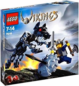 LEGO Vikings Set #7015 Viking Warrior Challenges the Fenris Wolf