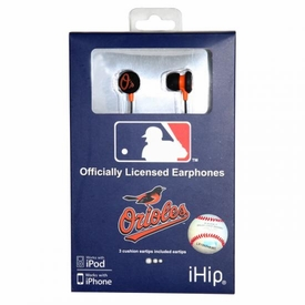 iHip MLB Baseball Sports Earphones Baltimore Orioles Logo Earbuds