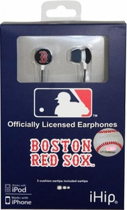 iHip MLB Baseball Sports Earphones Boston Red Sox Logo Earbuds