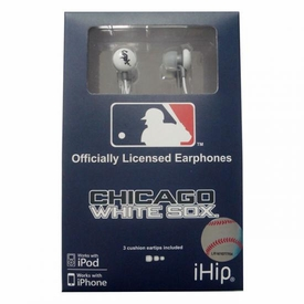 iHip MLB Baseball Sports Earphones Chicago White Sox Logo Earbuds