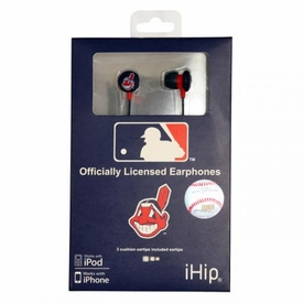 iHip MLB Baseball Sports Earphones Cleveland Indians Logo Earbuds