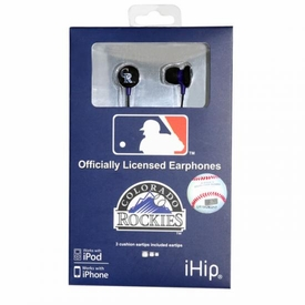 iHip MLB Baseball Sports Earphones Colorado Rockies Logo Earbuds