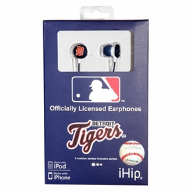 iHip MLB Baseball Sports Earphones Detroit Tigers Logo Earbuds
