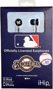 iHip MLB Baseball Sports Earphones Milwaukee Brewers Logo Earbuds