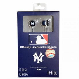 iHip MLB Baseball Sports Earphones New York Yankees Logo Earbuds