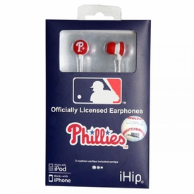 iHip MLB Baseball Sports Earphones Philadelphia Phillies Logo Earbuds