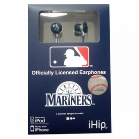 iHip MLB Baseball Sports Earphones Seattle Mariners Logo Earbuds