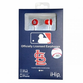 iHip MLB Baseball Sports Earphones St. Louis Cardinals Logo Earbuds