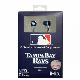iHip MLB Baseball Sports Earphones Tampa Bay Rays Logo Earbuds