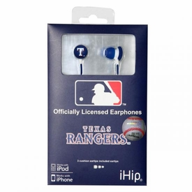 iHip MLB Baseball Sports Earphones Texas Rangers Logo Earbuds